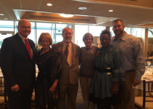 Pictured with Kathy and Erik (left to right) MC Freeholder John Curley, Fortune committee member Robin Blair, Co-Chairs of the T. Thomas Fortune Committee Mark Fitzsimmons and Gilda Rogers
